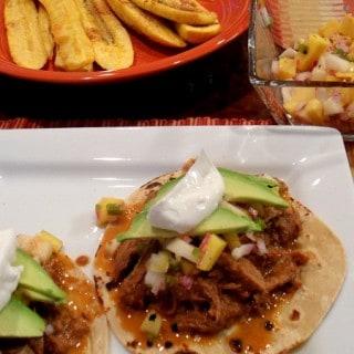 Crock Pot Turkey Mole Tacos with Pear & Mango Salsa