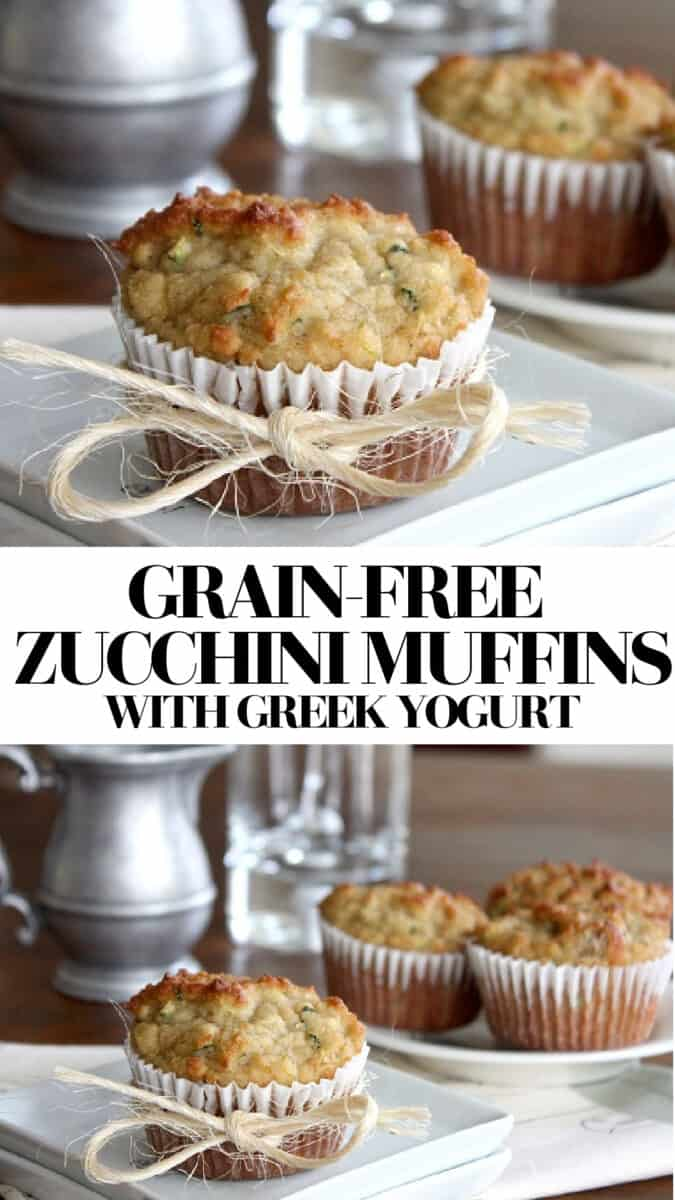 Grain-Free Zucchini Muffins with coconut flour, almond flour, and Greek yogurt. A healthy breakfast or snack!