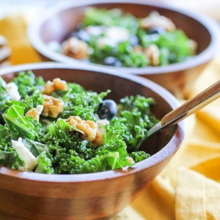 Massaged Kale Salad with Creamy Blueberry Vinaigrette