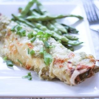 Chili Verde Shredded Chicken Enchiladas with homemade green salsa | theroastedroot.net #mexican #recipe