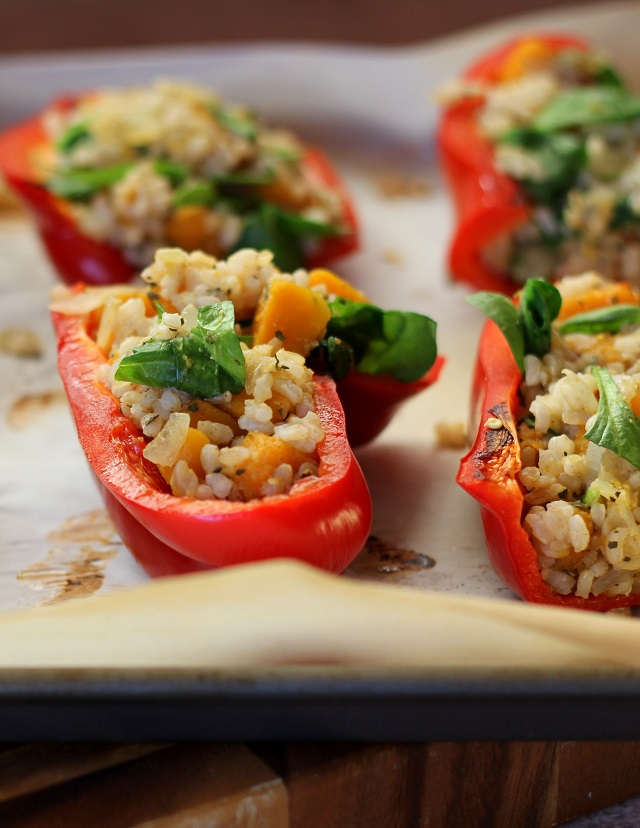 Stuffed Bell Peppers with Butternut Squash, Spinach, and Brown Rice