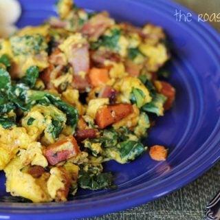 Sweet Potato, Kale & Bacon Scramble