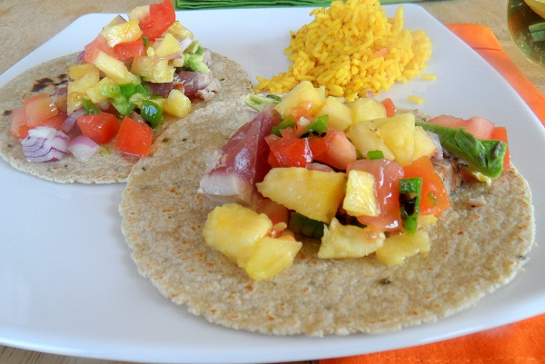 Seared ahi tacos with Pineapple salsa