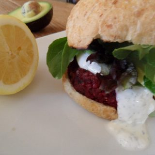 Beet Burgers with Lemon Dill Yogurt Sauce