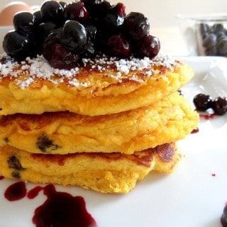 Blueberry Coconut Flour Pancakes for One