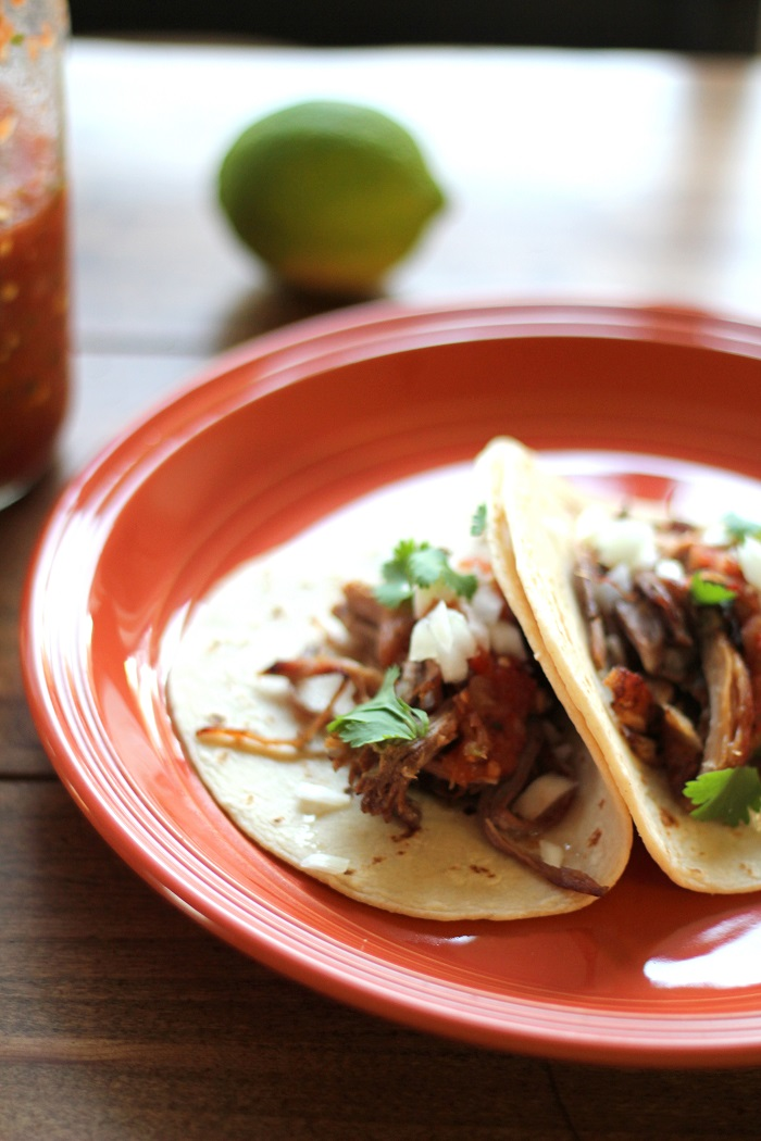 Crock Pot Carnitas Tacos | TheRoastedRoot.net #recipe #dinner #slowcooker