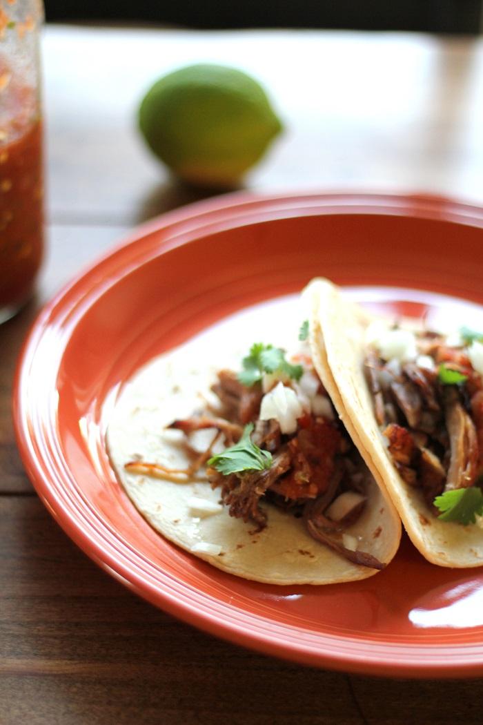 Crock Pot Carnitas Tacos | TheRoastedRoot.net #recipe #dinner #slowcooker