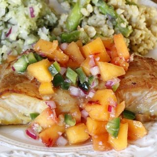 Soy Ginger Glazed Halibut with Ginger Peach Relish