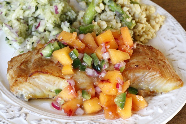 Soy & Ginger Glazed Halibut with Ginger Peach Relish