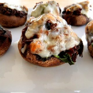 Meat & Spinach-Stuffed Mushrooms with Goat Cheese
