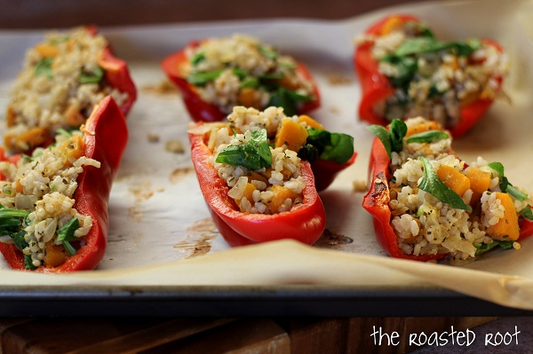 Butternut Squash & Brown Rice Stuffed Bell Peppers