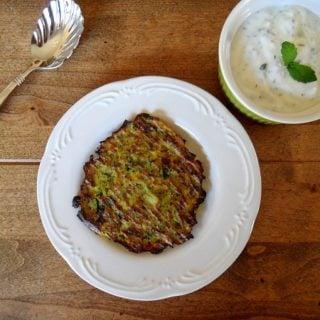 Baked Zucchini & Leek Fritters with Mint Yogurt Sauce