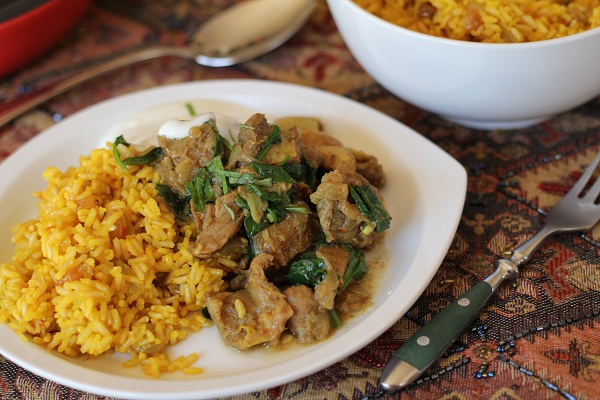 Crock Pot Lamb Curry with Saffron Rice