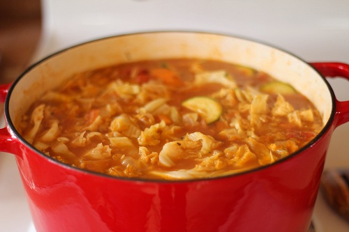 Simmered Cabbage with Meatballs