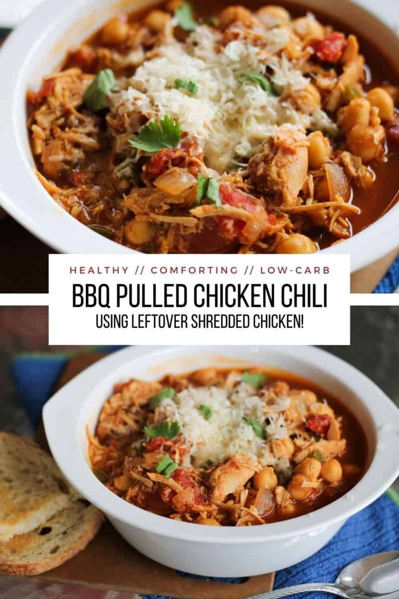 BBQ Pulled Chicken Chili with Garbanzo Beans - this easy to prepare recipe comes with all sorts of preparation options. Use leftover shredded or rotisserie chicken for the easiest chili recipe ever!