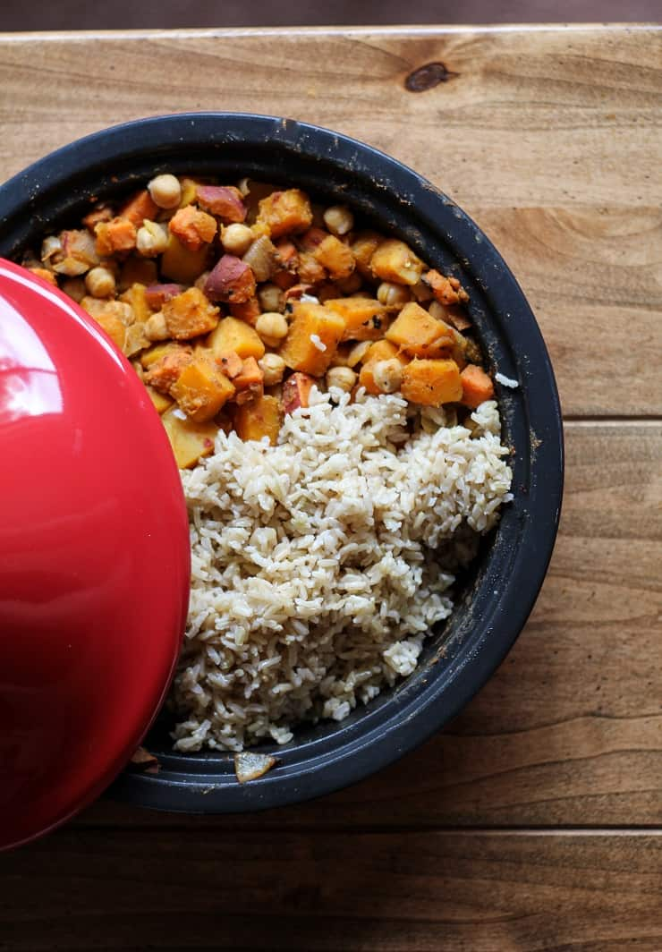 Butternut Squash and Sweet Potato Tagine - an easy, pleasing, nutritious vegan dinner recipe