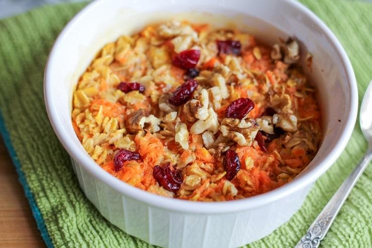 Carrot Cake Baked Oatmeal - gluten-free, vegan, healthy, delicious! | TheRoastedRoot.net #breakfast #vegetarian