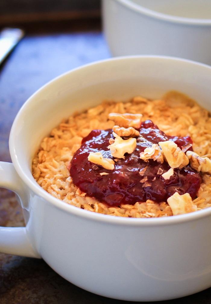 Peanut Butter and Jelly Baked Oatmeal | TheRoastedRoot.net #healthy #breakfast #glutenfree #pb&j