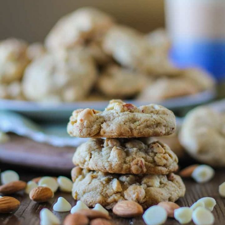 Roasted Almond Cardamom White Chocolate Chip Cookies - absolutely delicious unique cookie recipe that happens to be gluten-free! | TheRoastedRoot.net