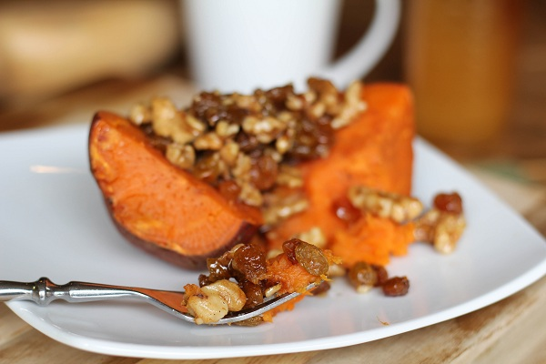 Roasted Yams with Honey Walnuts & Raisins http://www.roastedrootfood.com