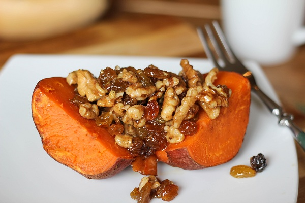 Roasted Yams with Honey Walnuts & Raisins