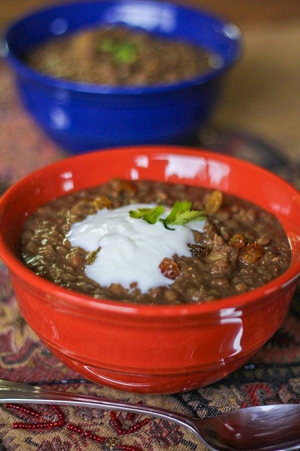 Crock Pot Tunisian Lentil Stew #healthy #glutenfree #vegetarian