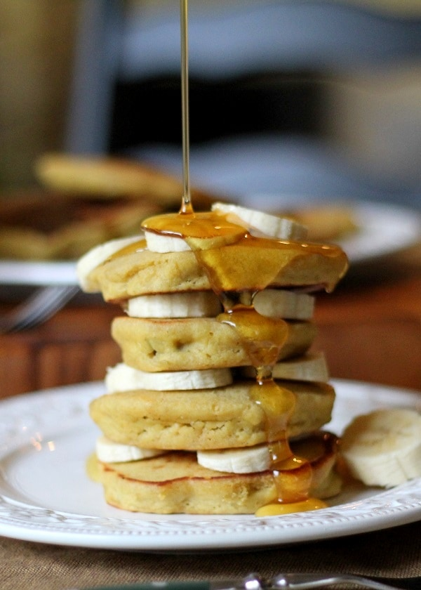 Gluten Free Banana Pancakes | made with brown rice flour and naturally sweetened