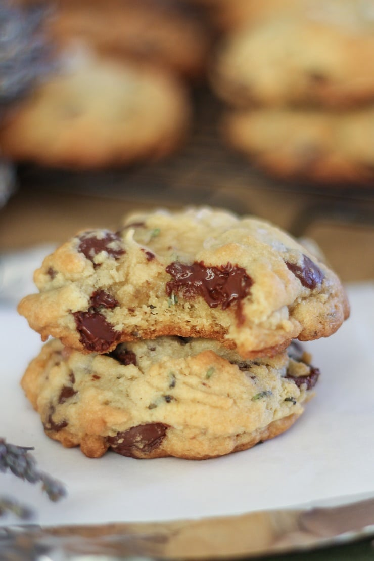 Gluten-Free Lavender Chocolate Chip Cookies - a classic chocolate chip cookie recipe with an earthy flavor using lavender buds
