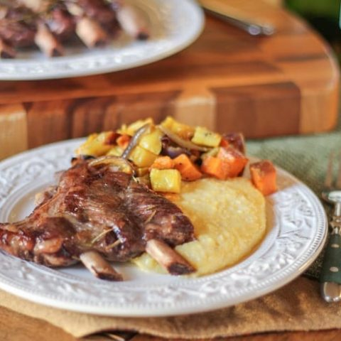 Red Wine Braised Spare Ribs with creamy polenta and roasted root vegetables