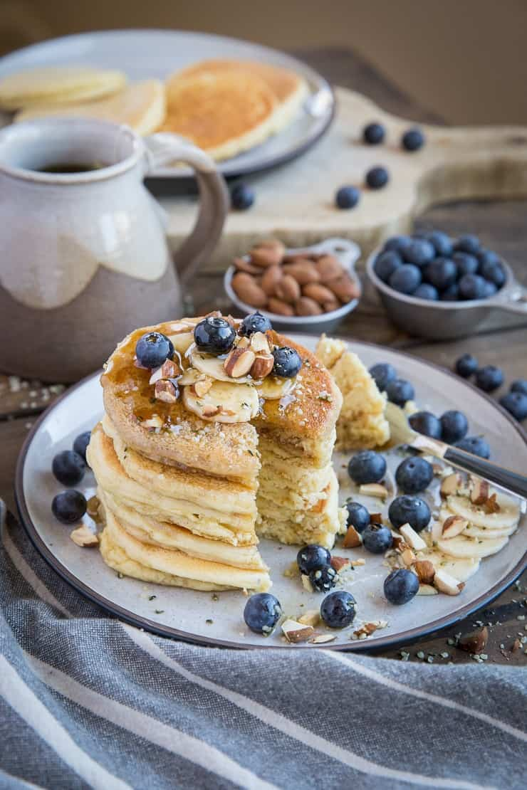 Almond Flour Pancakes - paleo, gluten free, refined sugar free, dairy free, super light, fluffy, and healthy for breakfast or snack