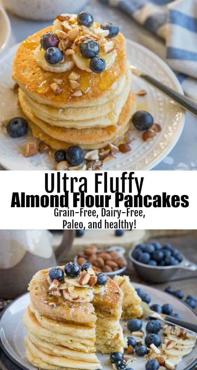 Almond Flour Paleo Pancakes - grain-free, refined sugar-free, dairy-free, and healthy! These perfectly fluffy pancakes are made easily in your blender