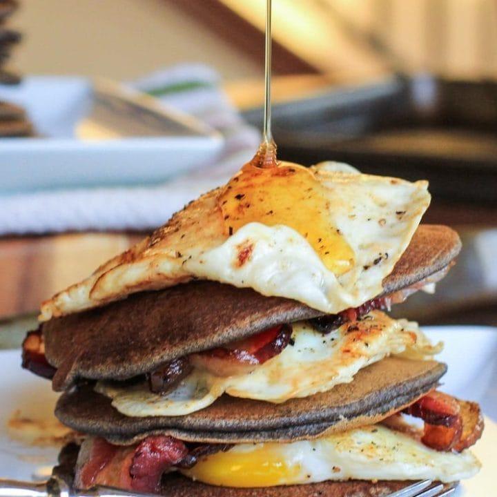 Bacon and Egg Buckwheat Pancakes - gluten-free and delicious! | TheRoastedRoot.net #breakfast #buckwheat #healthy
