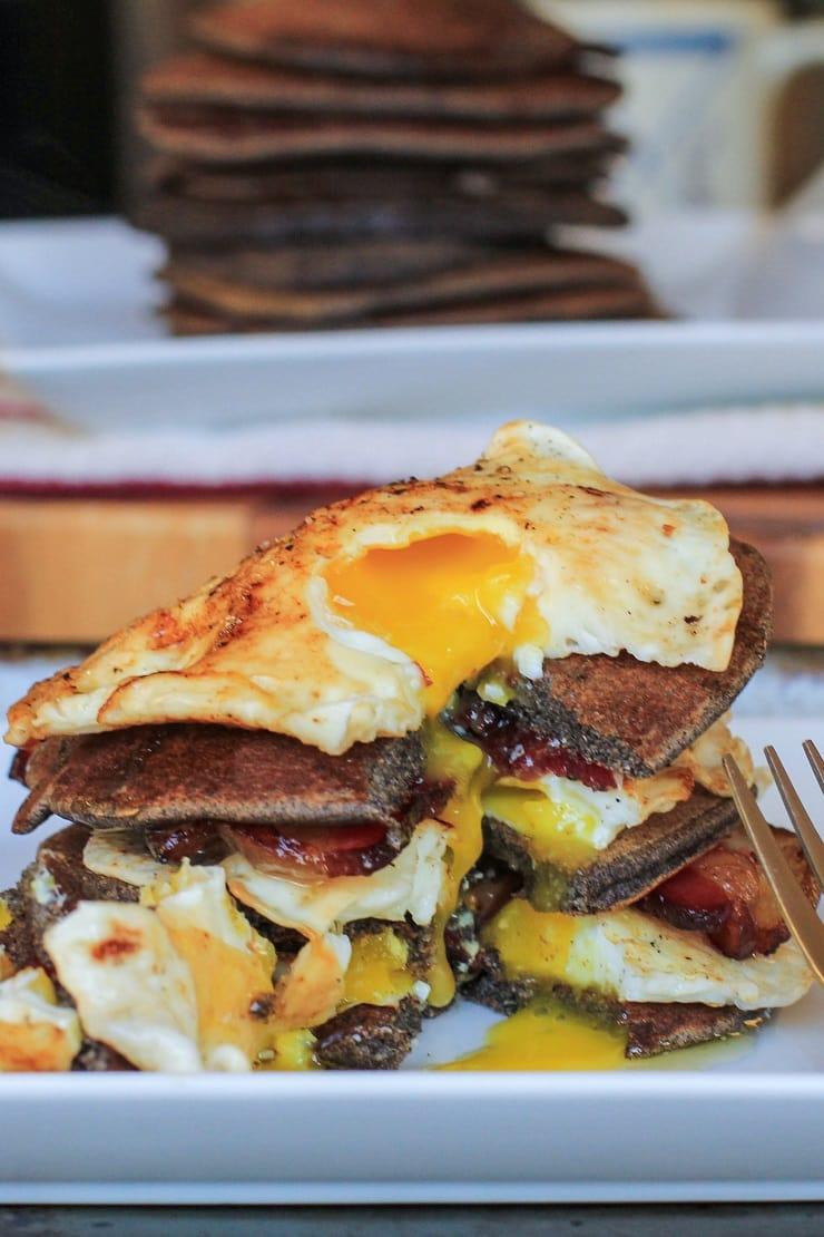 Bacon and Egg Buckwheat Pancakes - gluten-free and delicious!   TheRoastedRoot.net #breakfast #buckwheat #healthy