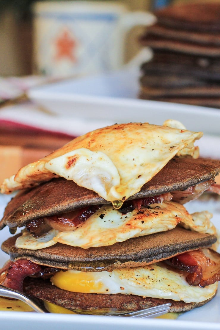 Bacon and Egg Buckwheat Pancakes - gluten-free and delicious! | TheRoastedRoot.net #breakfast #buckwheat #healthy