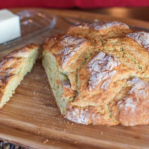 Cheese and Herb Irish Soda Bread - gluten-free | TheRoastedRoot.net #bread #recipe #stpatricksday