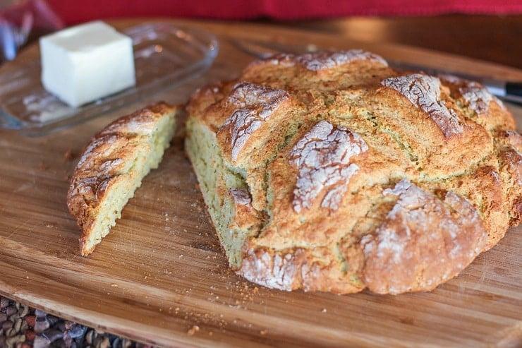 Cheese and Herb Irish Soda Bread - gluten-free | TheRoastedRoot.net #bread #recipe #stpatricksday