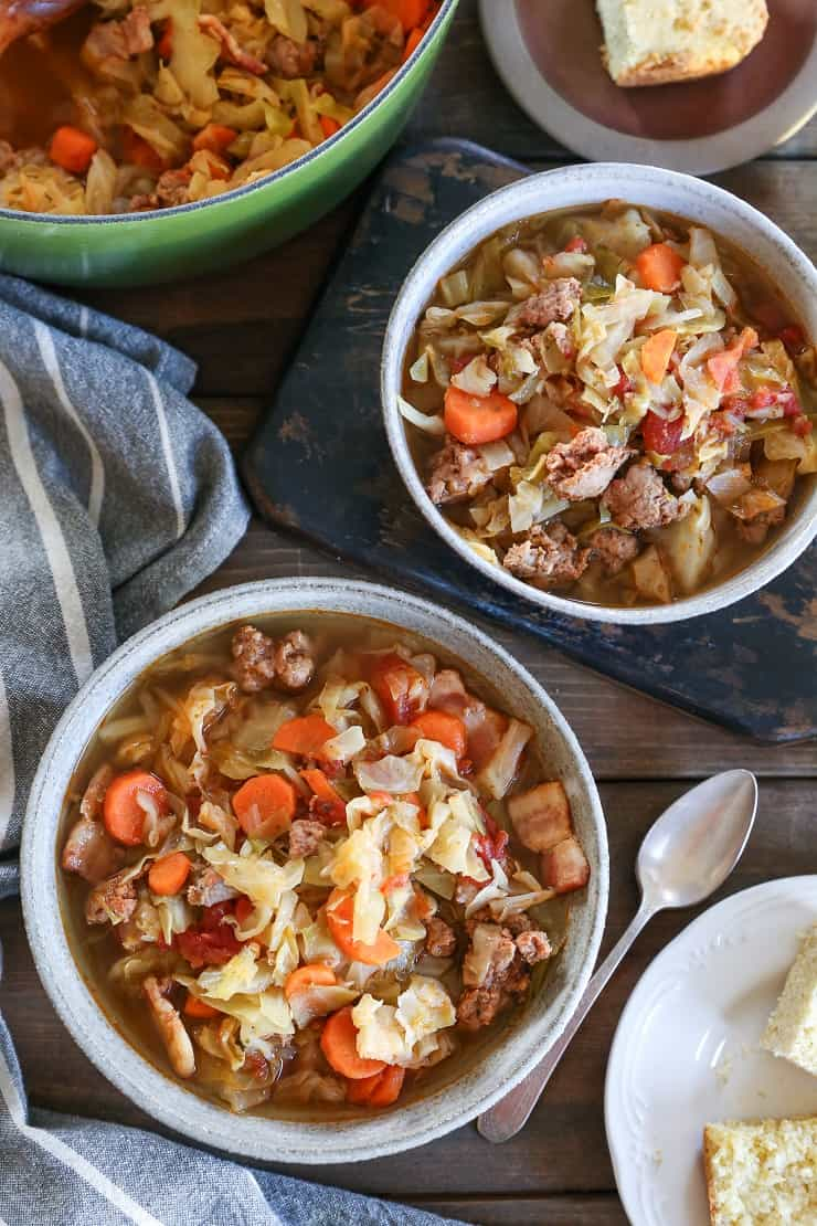 Transylvanian Stockpot (Cabbage and Sausage Stew) - a hearty winter soup recipe with bacon, sausage, and vegetables for a hot healthy paleo meal #whole30 #glutenfree