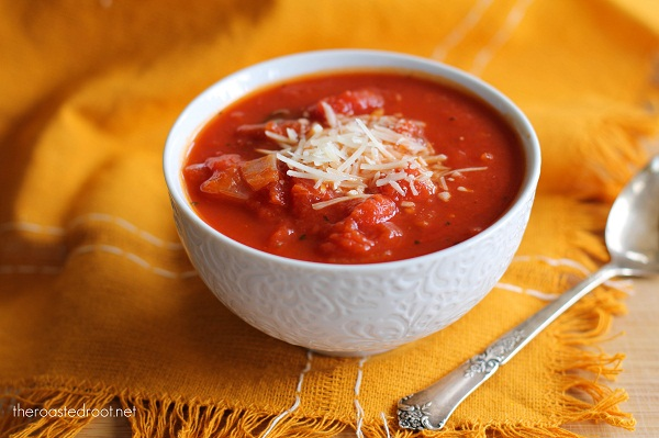 Chunky Tomato Basil Soup | http://www.theroastedroot.net
