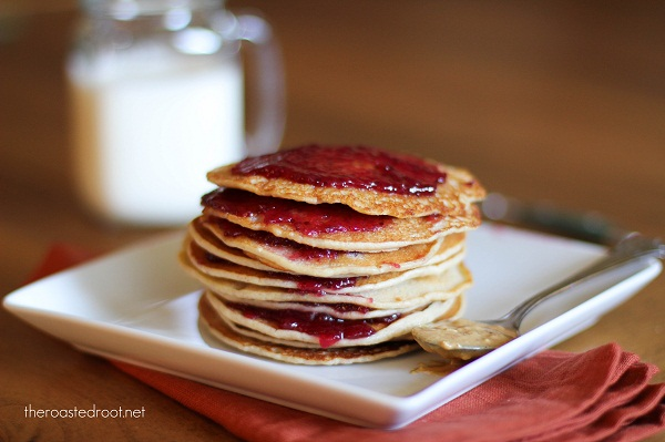 Peanut Butter & Jelly Pancakes (gluten free!) from The Roasted Root
