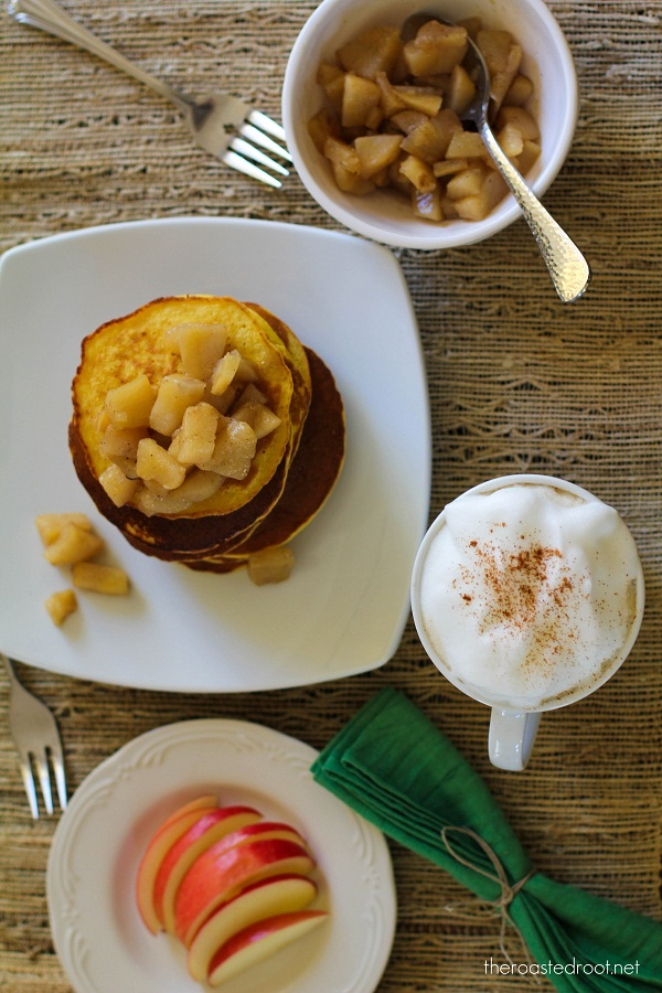 Gluten Free Pancakes with Pear Cardamom Topping