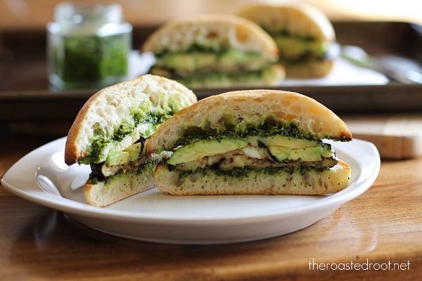 Roasted Eggplant Sandwich with Avocado and Kale Pesto.