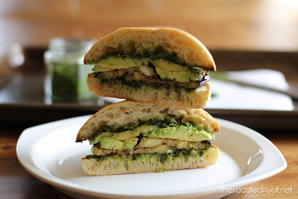 Roasted Eggplant Sandwich with Avocado and Kale Pesto | https://www.theroastedroot.net
