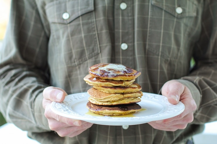 Gluten-Free Morning Glory Pancakes made with almond flour and rice flour | TheRoastedRoot.net #healthy #breakfast #recipe