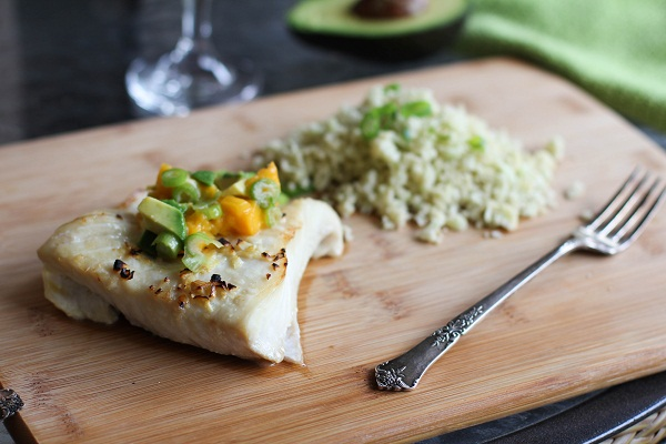 Broiled Halibut with Mango Avocado Relish and Cauliflower Rice