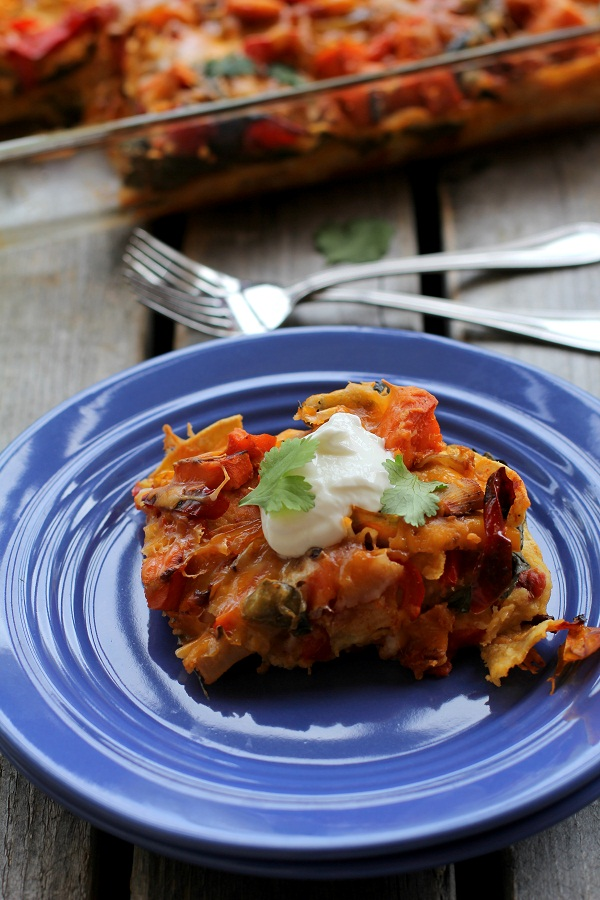 Stacked Roasted Vegetable Enchiladas from The Roasted Root
