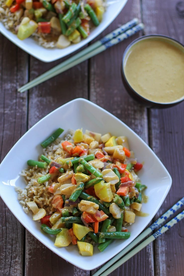 Vegetable Stir Fry with Peanut Sauce - loaded with a variety of vegetables for a healthy vegetarian dinner