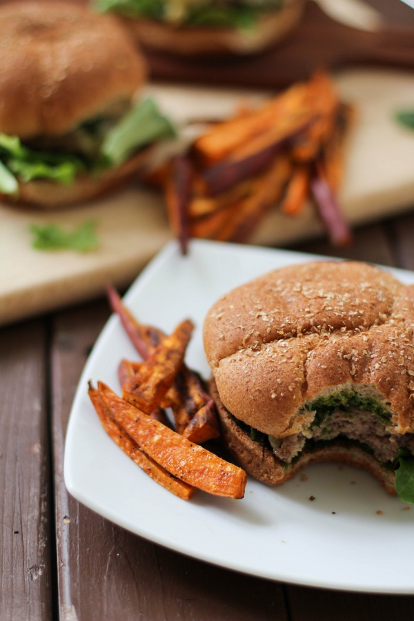 Lamb Burgers with kale and mint pesto