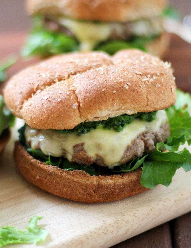 Lamb Burgers with Mint Pesto and Jack Cheese