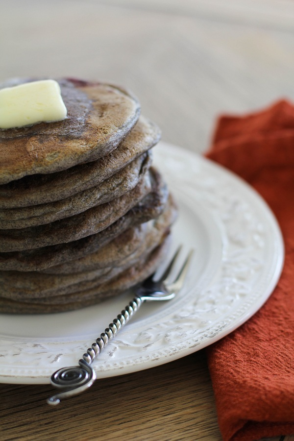 Buckwheat Soudough Pancakes with cherries | http://www.theroastedroot.net