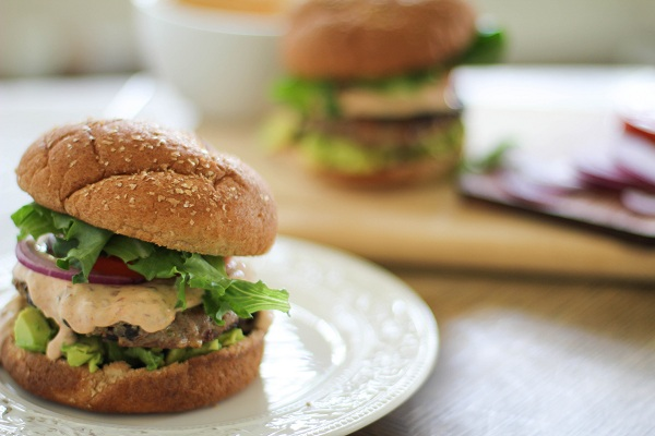 Southwest Turkey Burgers with Chipotle Yogurt Sauce